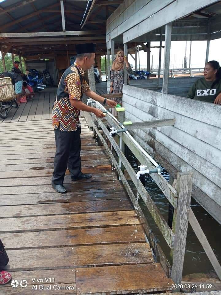 Penumpang Kempang Bisa Cuci Tangan di Pelabuhan Penyeberangan